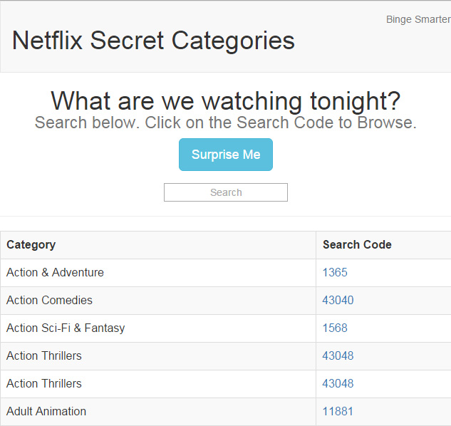 Netflix Secret Codes Web Site